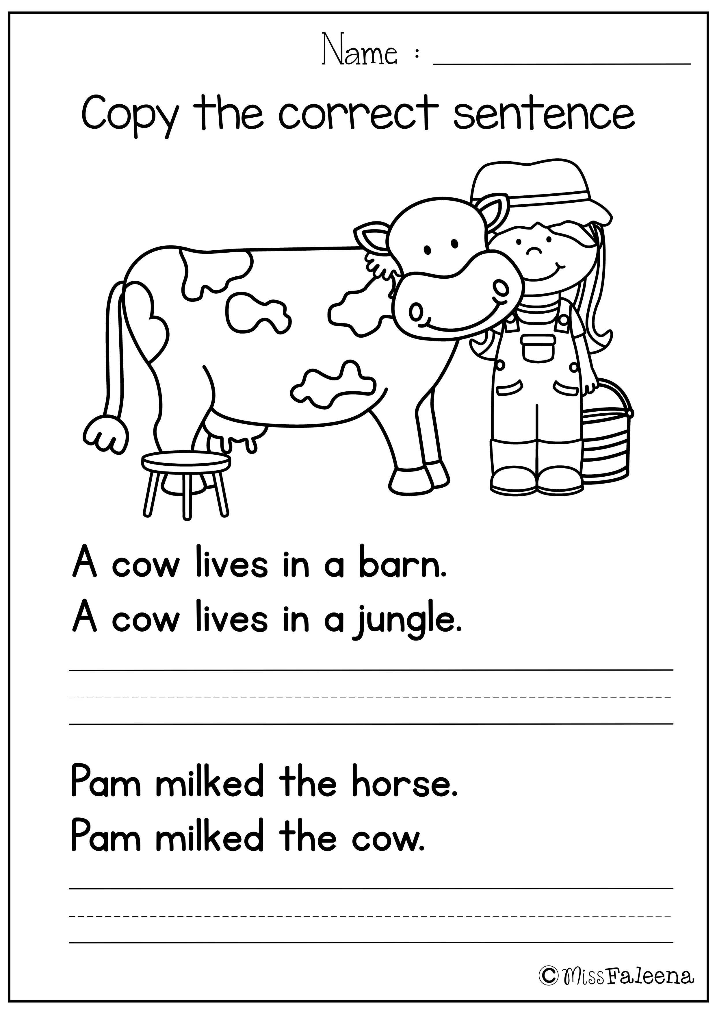 Writing Simple Sentences Worksheets Kindergarten 683017