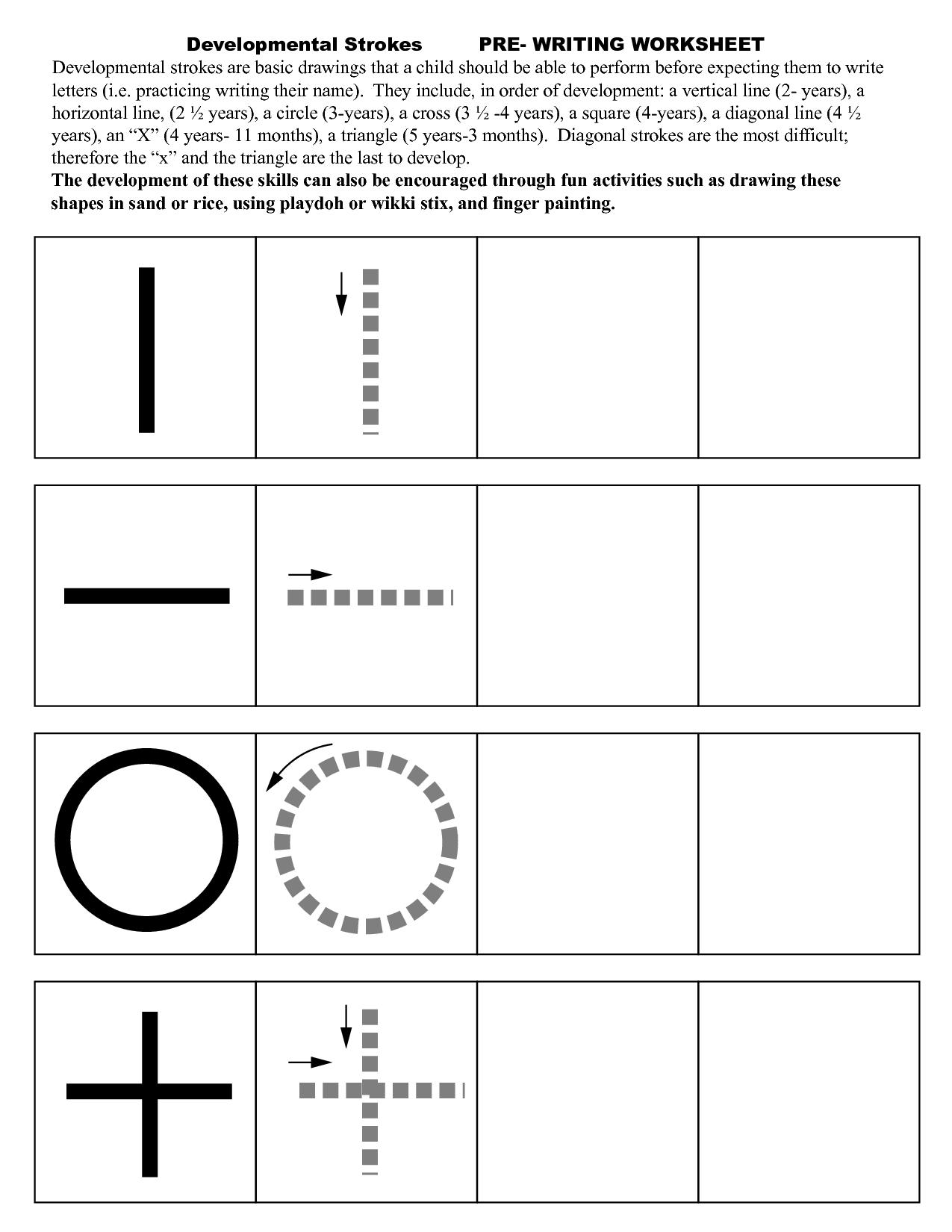 Writing Strokes Preschool Worksheets 543359