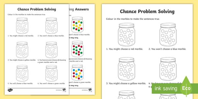 Year 1 Chance Problem Solving Worksheet   Activity Sheet