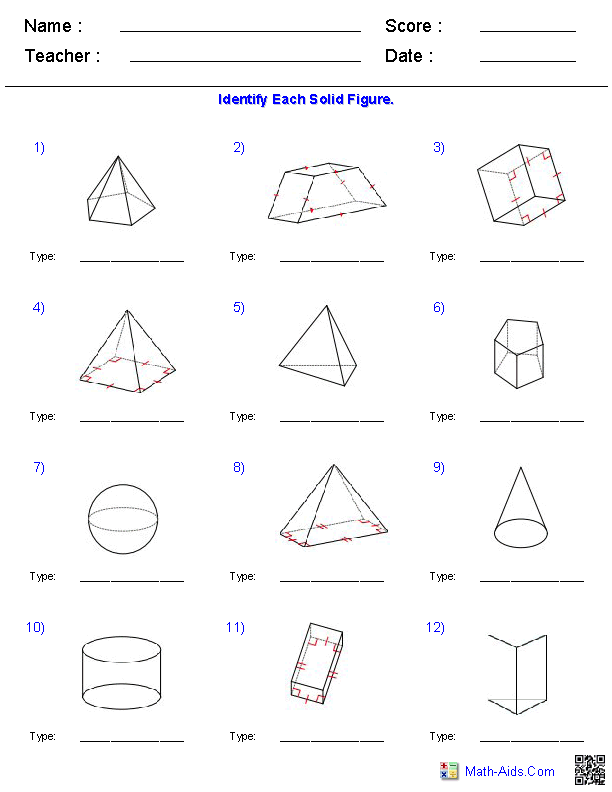 Year 7 Maths Volume Worksheets