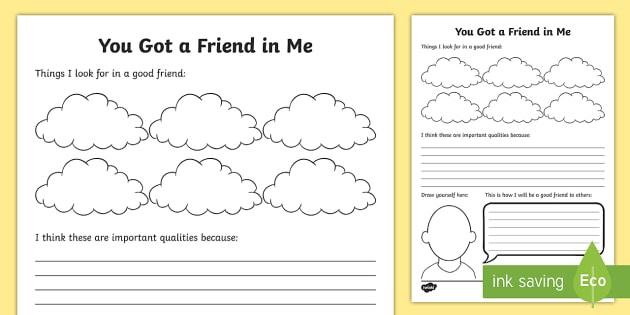 You Got A Friend In Me Worksheet   Activity Sheet