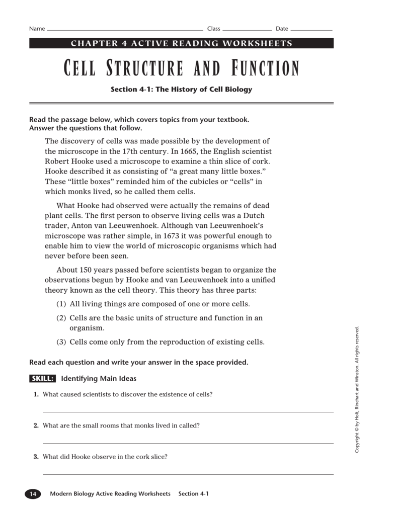 Cell Structures And Functions Part 2 Worksheet