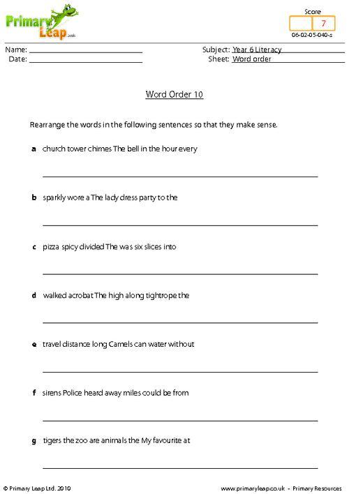 Word Order 10