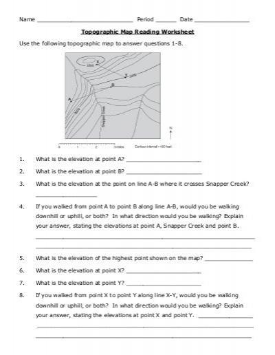 Reading Topographic Maps Worksheet