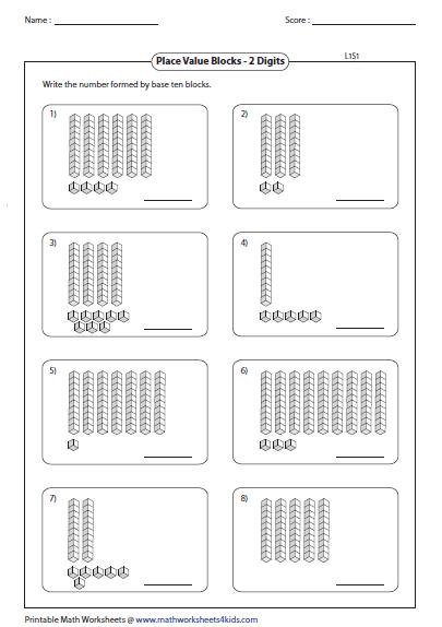 1st Grade Math Base Ten Blocks Worksheets 1197255