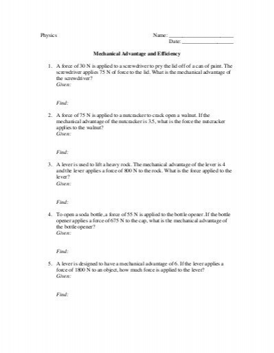 22 Elegant Mechanical Advantage Worksheet With Answers