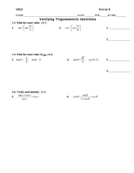 22 Inspirational Proving Trigonometric Identities Worksheet With