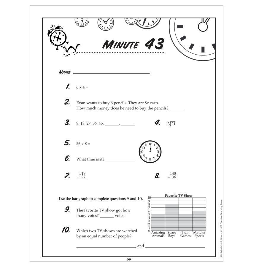 2nd Grade Math Minutes Worksheets 273581