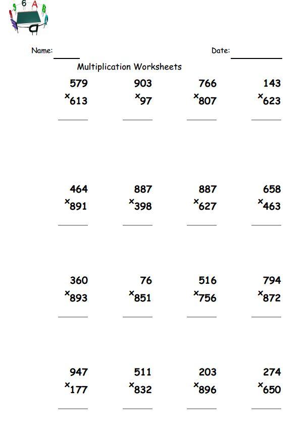 3 Digit By 2 Digit Multiplication Worksheets  491595
