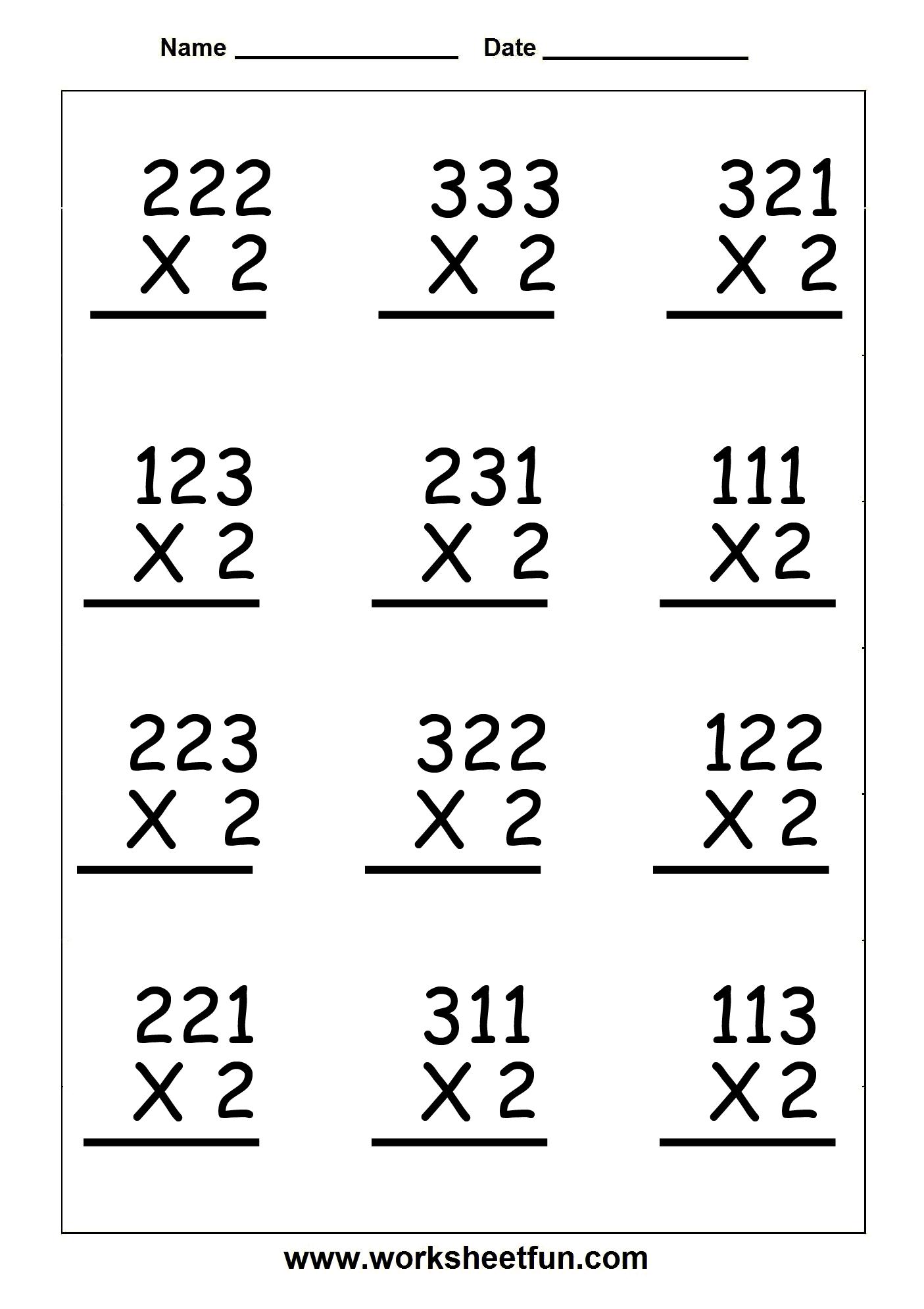 3 Digit Multiplication Worksheets For Grade 2  157446