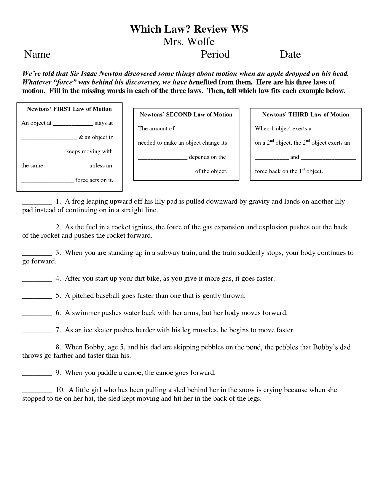 3 Laws Of Motion Worksheets Newton S Third Law Worksheet, Laws Of