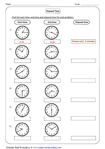 3rd Grade Math Worksheets On Elapsed Time  1348840