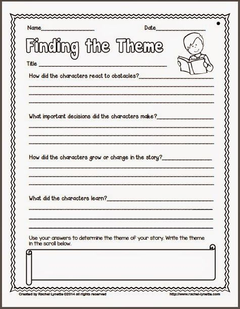 40 Identifying Theme Worksheets, Free Graphic Organizers For