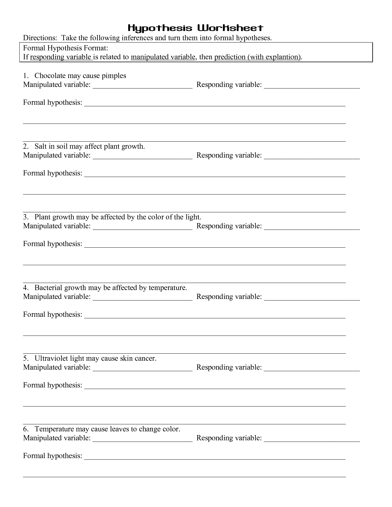 49 Hypothesis Worksheet, Ag Science  Hypothesis Worksheet Answers
