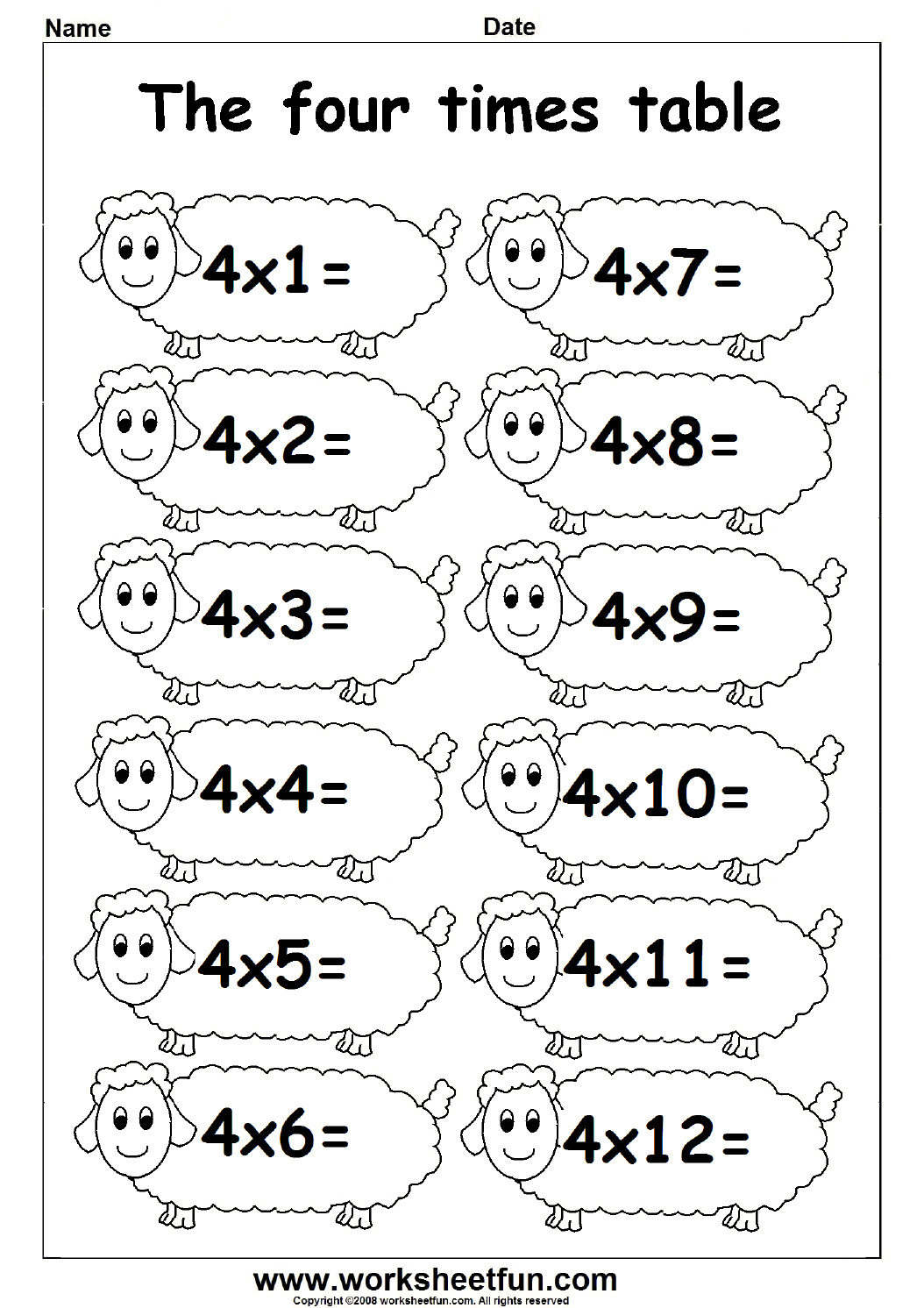 4 Times Table Worksheets 658412