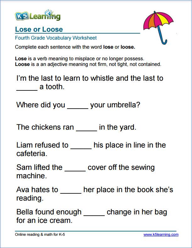 Grade 4 Grammar Worksheets Free