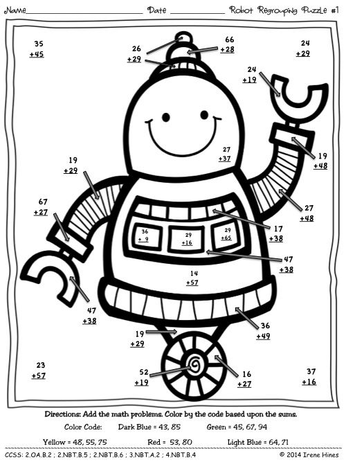 Robot Regrouping ~ Addition Math Printables Color By The Code