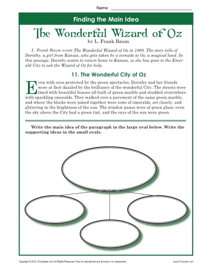 5th Grade Main Idea Worksheet About The Wonderful Wizard Of Oz