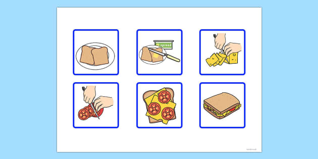 6 Step Sequencing Cards Making A Sandwich