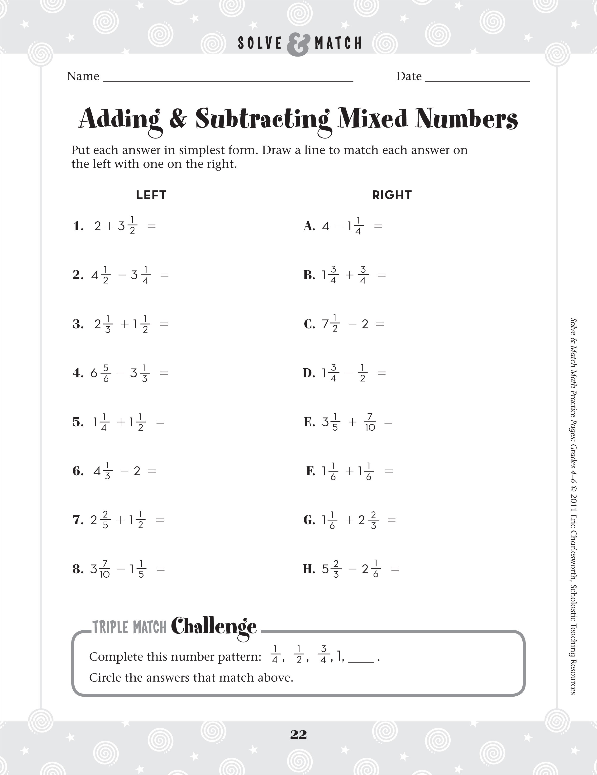 6th Grade Math Adding And Subtracting Mixed Numbers Worksheets