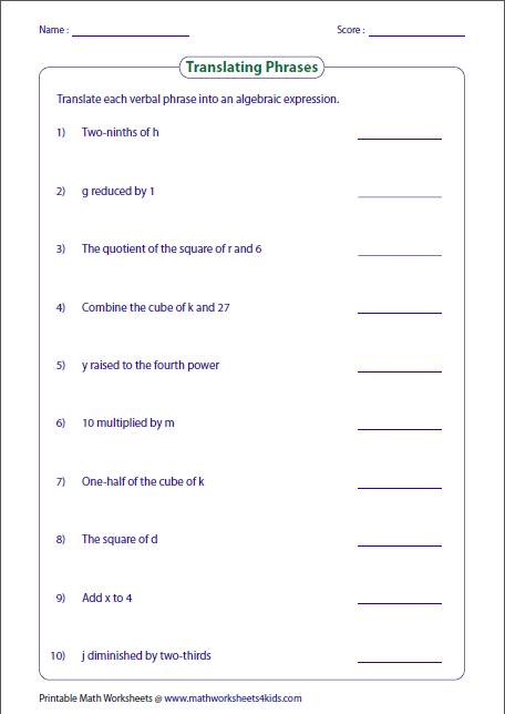 6th Grade Math Algebraic Expressions Worksheets Translating