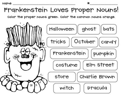 Frankenstein Loves Proper Nouns Freebie  Swimming Into Second