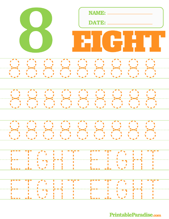 Printable Number 8 Tracing Worksheet
