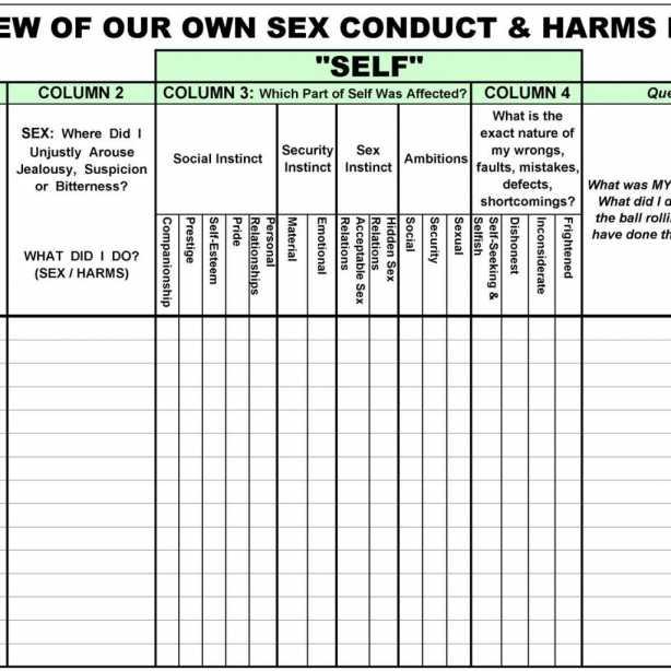 Aa 12 Steps Worksheets And Aa Step 4 Worksheets Printable Ondy