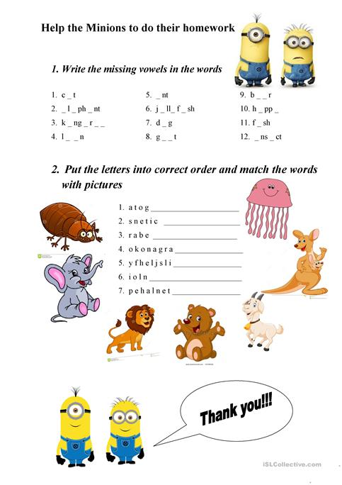 Abc Animals Exercises Worksheet