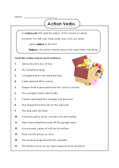 Action Verb Worksheet For 2nd Grade Action Verb Worksheets Second