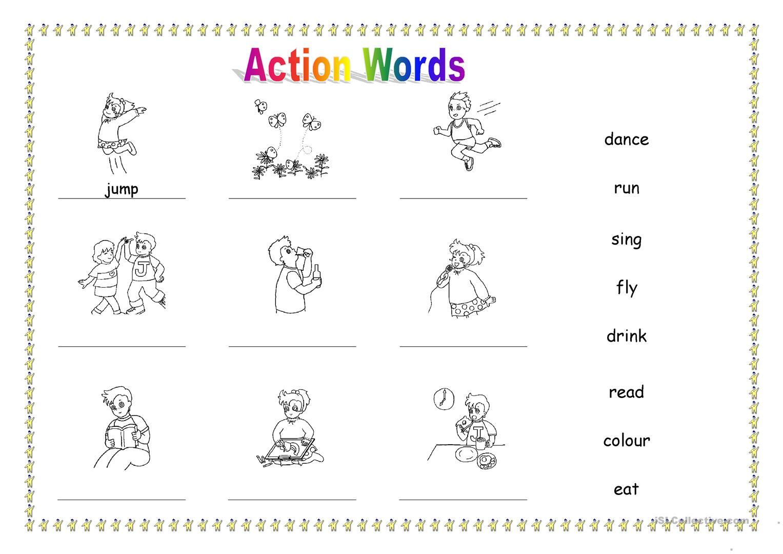 Action Words For Kindergarten Worksheets 1167630
