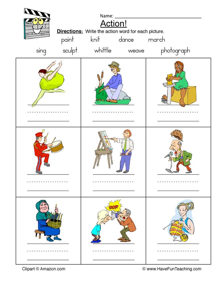 Action Words Worksheets For Preschool 1434245