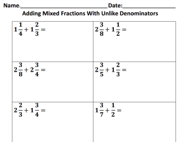 Adding And Subtracting Fractions Worksheets 5th Grade