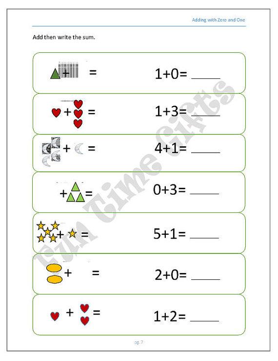 Adding Zero Worksheets Kindergarten