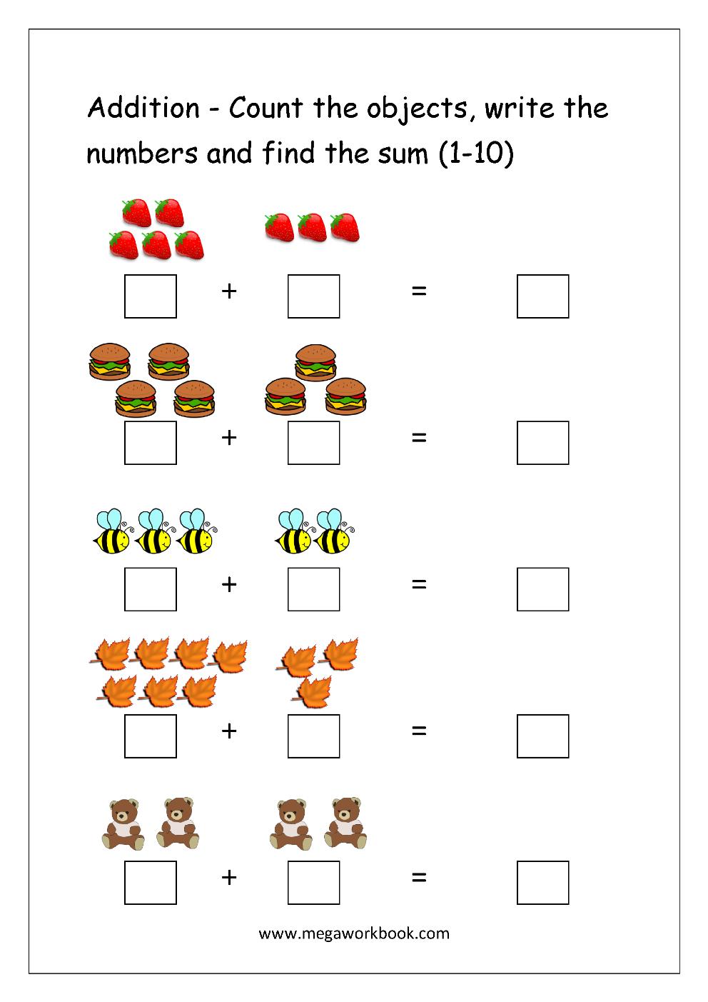 Addition Worksheets For Kindergarten 1 10  682362