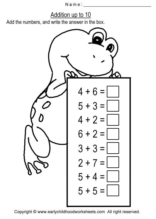 Addition Worksheets To The Sum Of 10