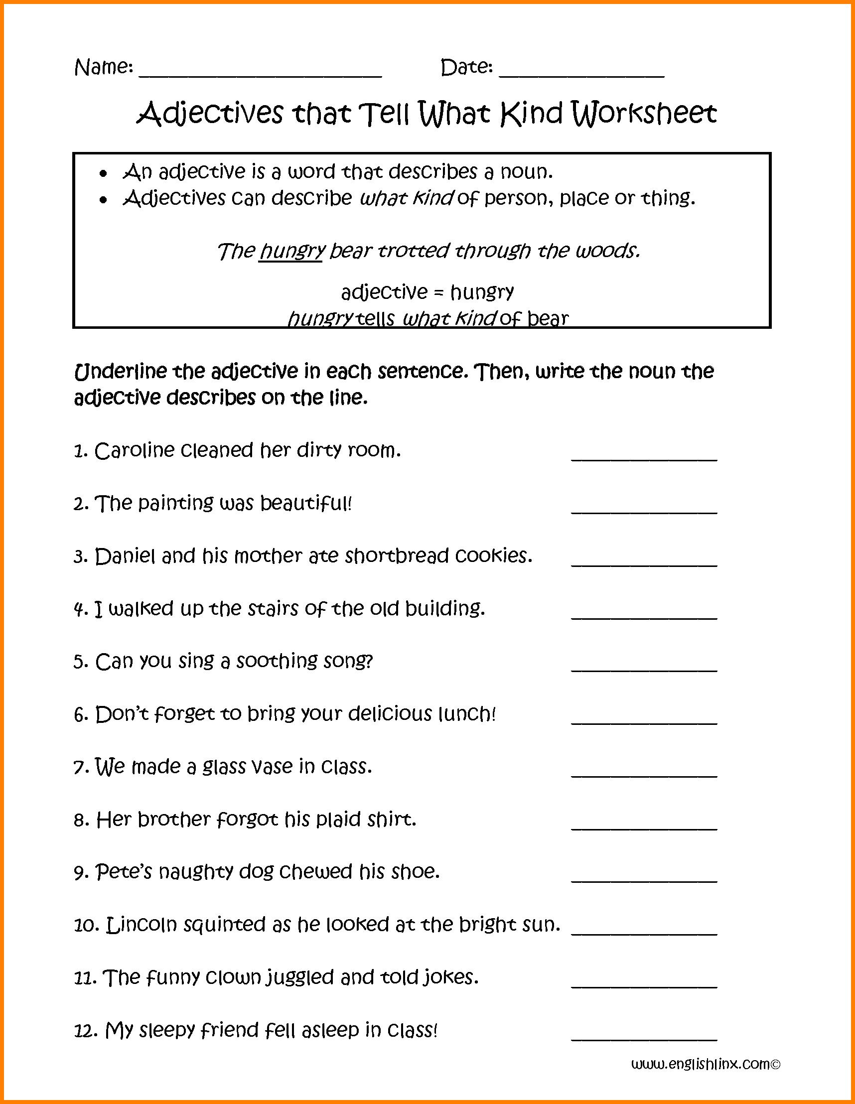 Adjectives Worksheet Grade 2 Pdf  1059029