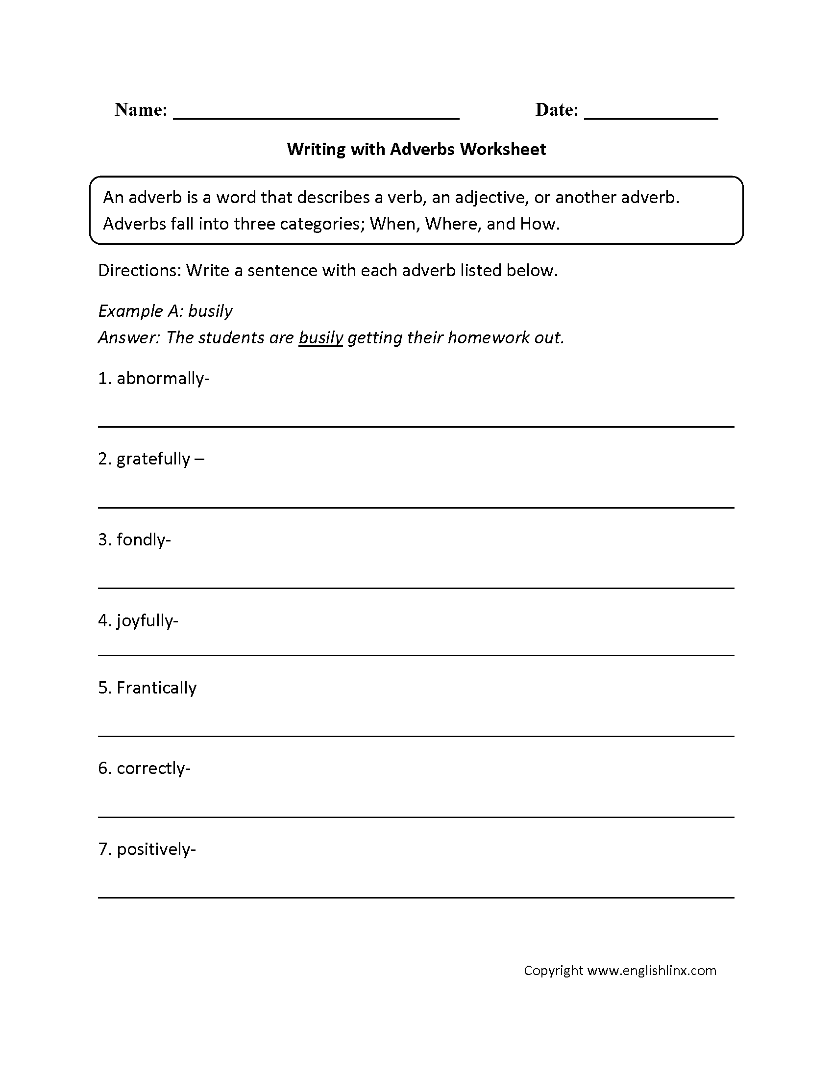 Adverbs Worksheets For Grade 3 954621