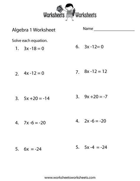 Algebra 1 Practice Worksheet Printable