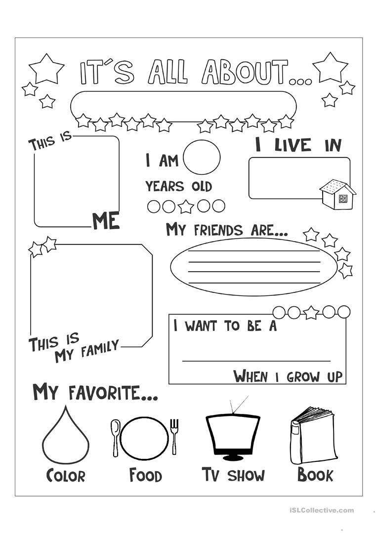 All About Me Printable Worksheets For Kindergarten  1201194