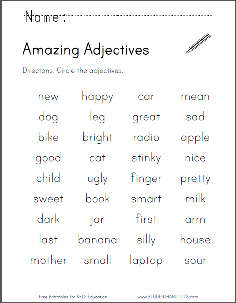 Amazing Adjectives Worksheet