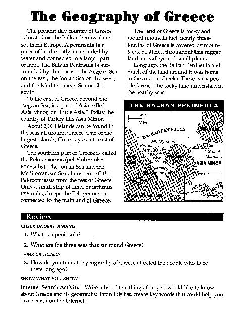 Ancient Greece Map Activity Images, Ancient Greece Worksheets