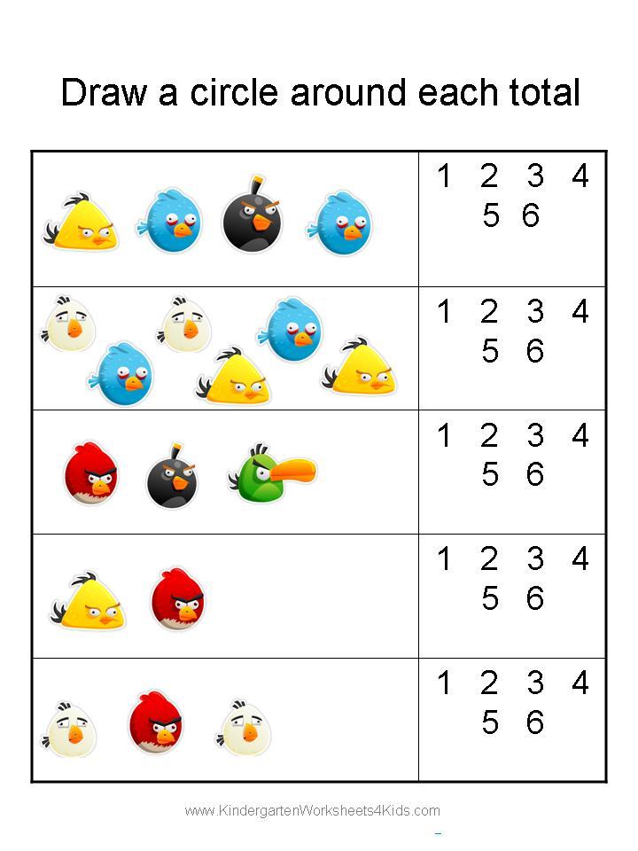 Angry Birds Kindergarten Worksheets 537076