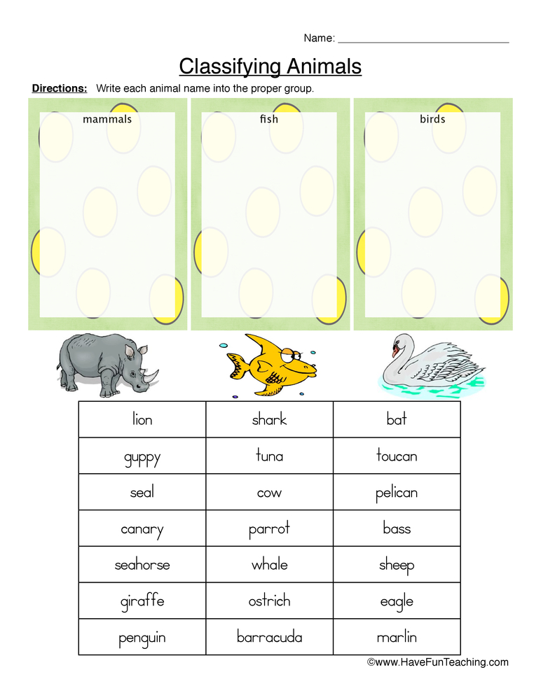 Animal Sorting Worksheets For Preschool 604884