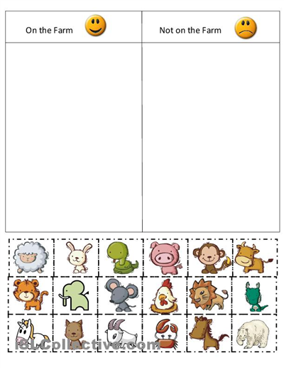 Animal Sorting Worksheets