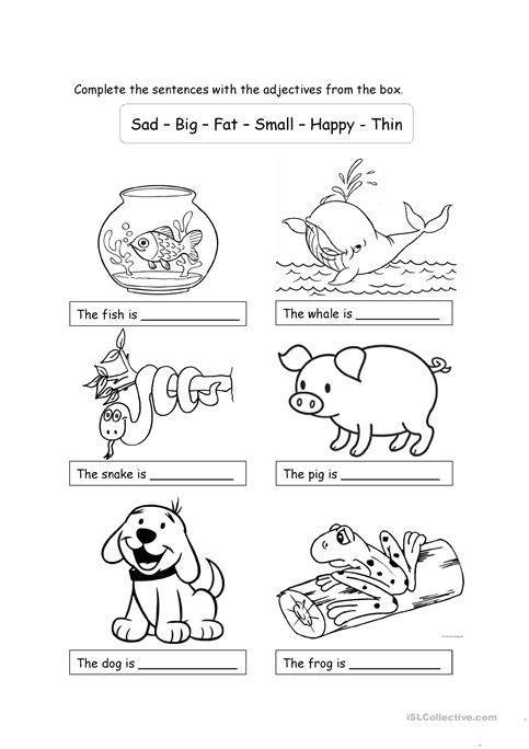 Animals And Adjectives For Children Worksheet