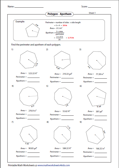 Area Of Polygons Worksheets 915329