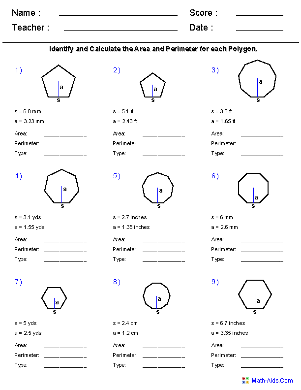 Area Of Polygons Worksheets 915330
