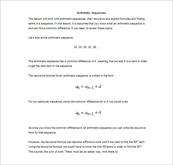 Arithmetic Sequence Worksheet Pdf 498157