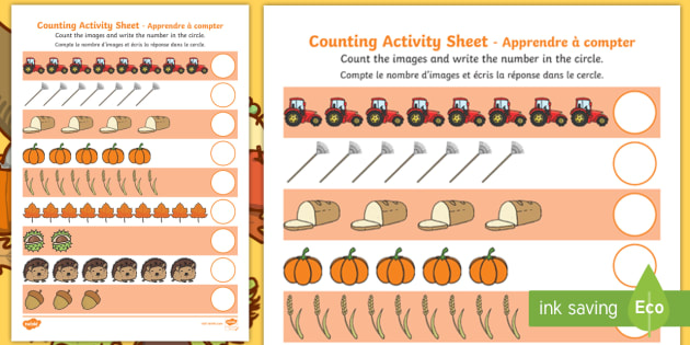 Autumn Counting Worksheet   Activity Sheet English French